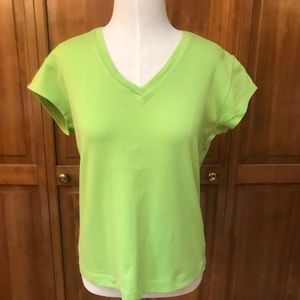 Chico's   V-Neck T-Shirt   Lime Green   Size 1